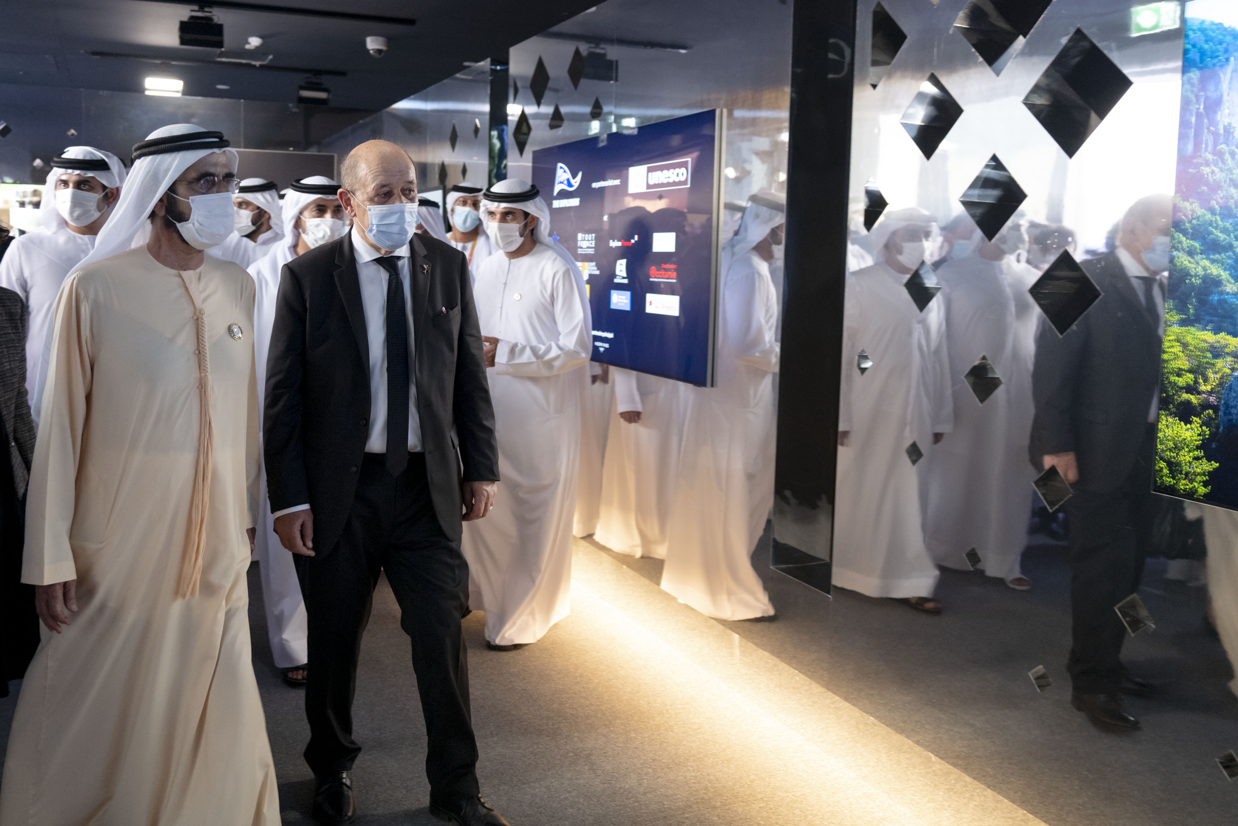 His Highness Sheikh Mohammed bin Rashid Al Maktoum - Mohammed bin Rashid meets with France's Minister of Foreign Affairs during his visit to the French pavilion at Expo 2020 Dubai