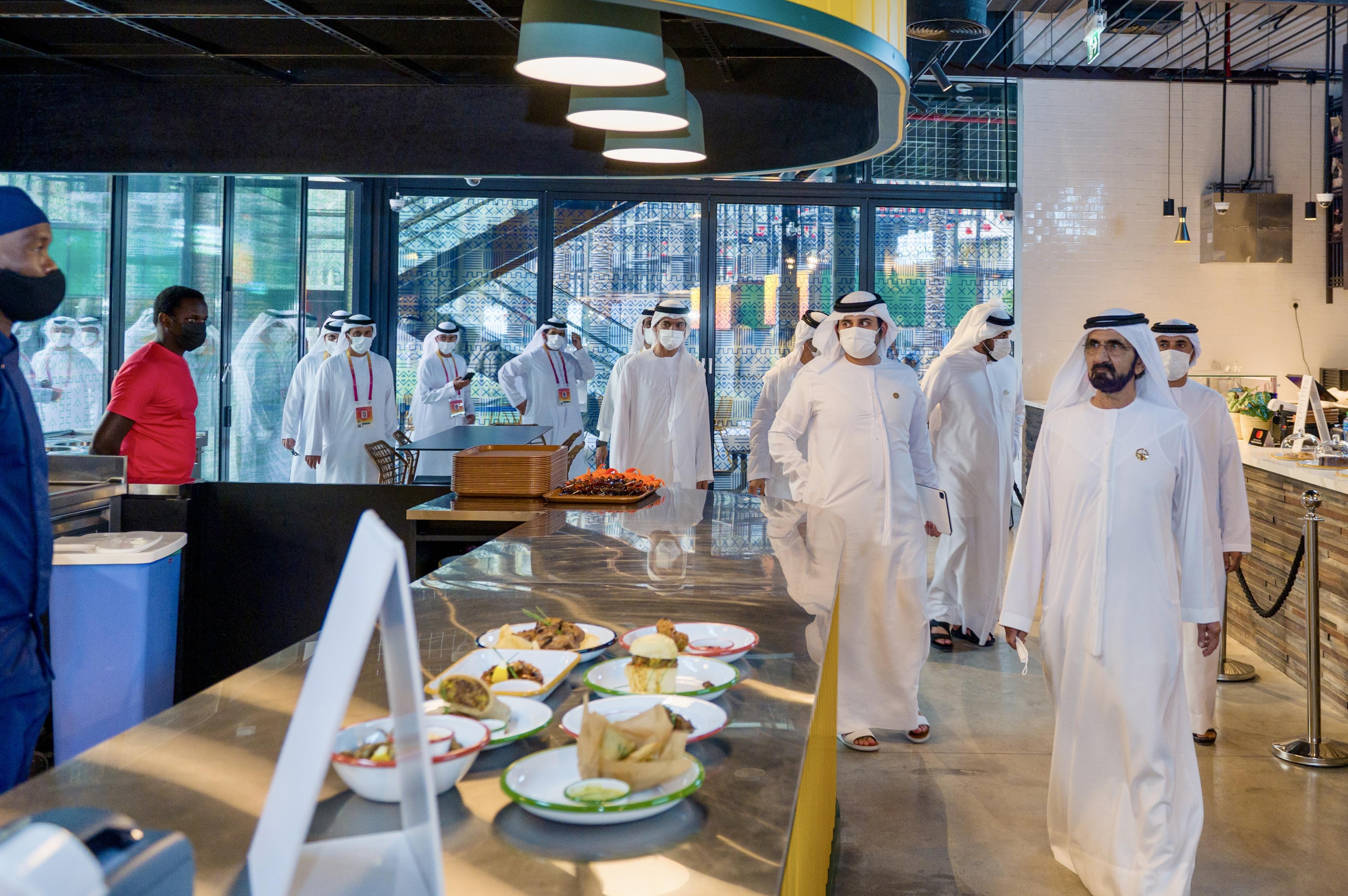 His Highness Sheikh Mohammed bin Rashid Al Maktoum - Mohammed bin Rashid visits African dining hall Alkebulan at Expo 2020 Dubai