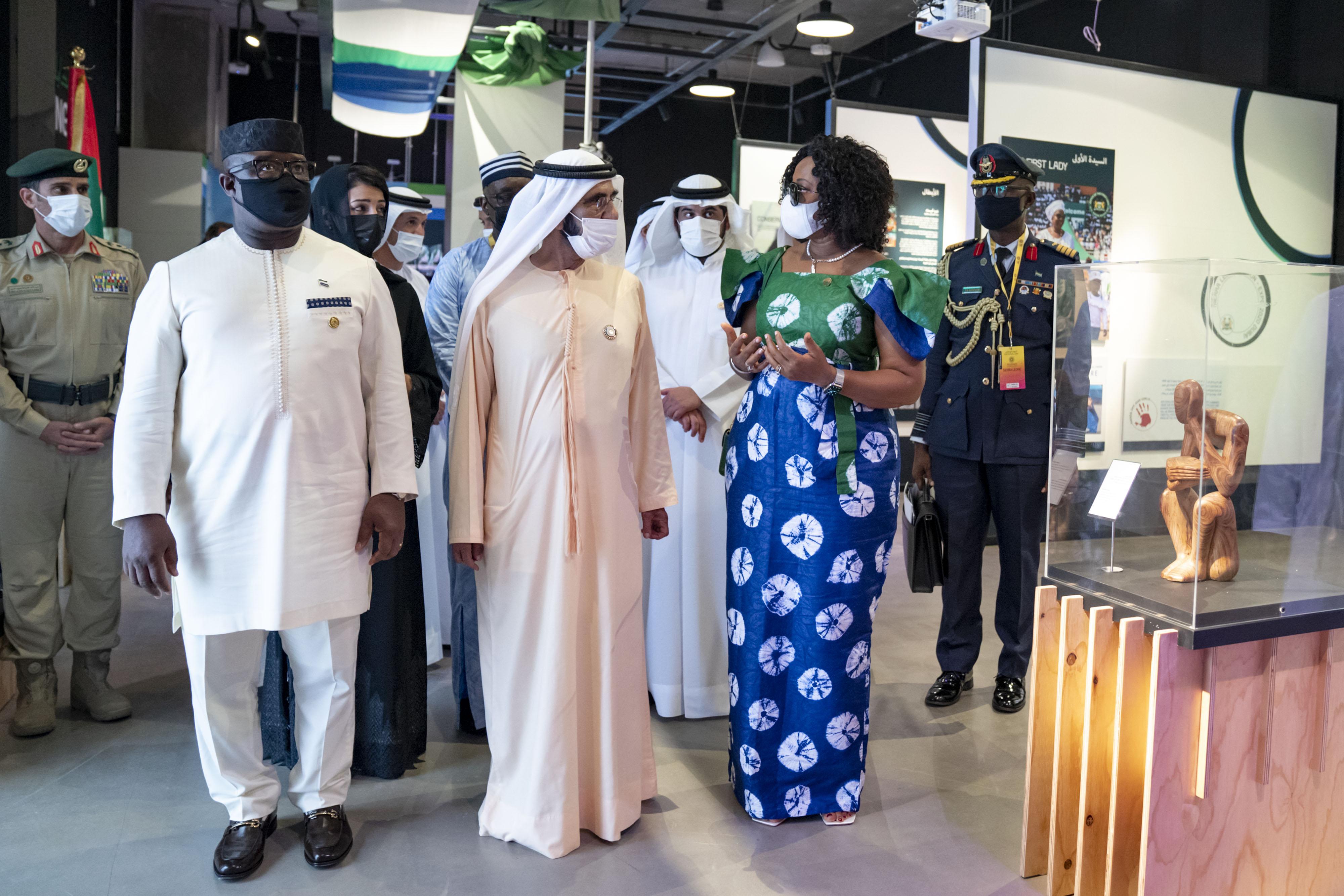 His Highness Sheikh Mohammed bin Rashid Al Maktoum - Mohammed bin Rashid meets with Presidents of Senegal and Sierra Leone at Expo 2020 Dubai