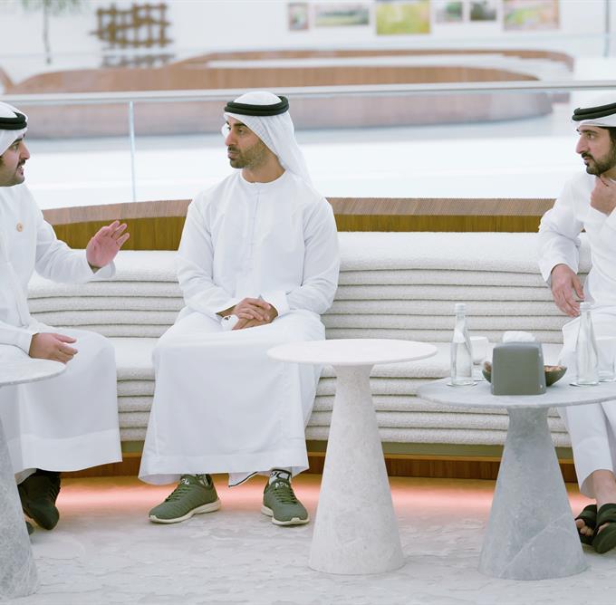 His Highness Sheikh Mohammed bin Rashid Al Maktoum - Mohammed bin Rashid and Mohamed bin Zayed meet at the UAE Pavilion at Expo 2020 Dubai